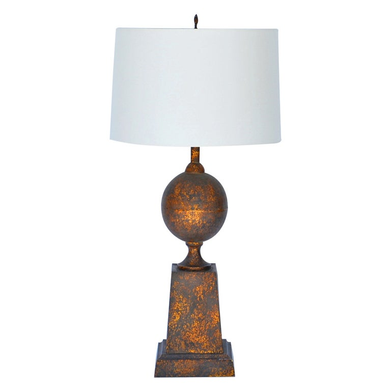 Large Gilt Tole Neoclassical Lamp with Custom Shade For Sale