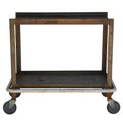 Sturdy Industrial Bar Cart on Wheels