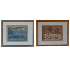 Rare Set of Two Framed Oil Paintings by Ivan da Silva Bruhns