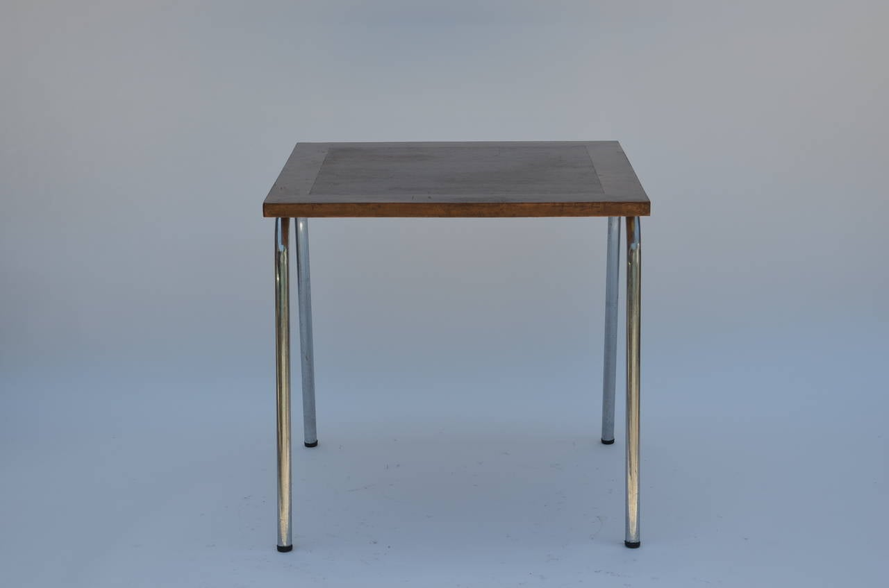 Set of eight large rectangular and square matching french for Square industrial dining table