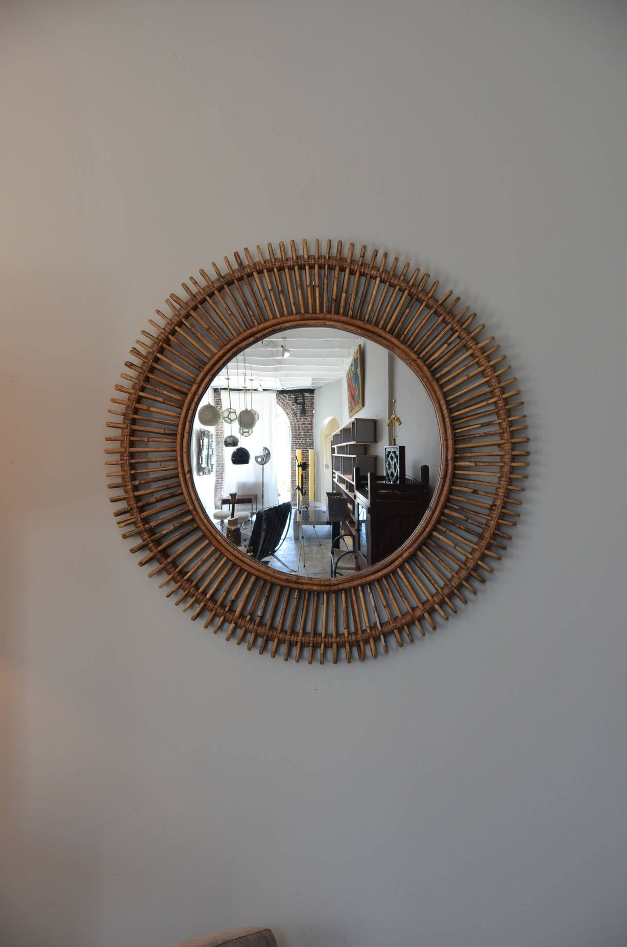 Pair of large decorative convex rattan mirrors for sale at for Fancy mirrors for sale