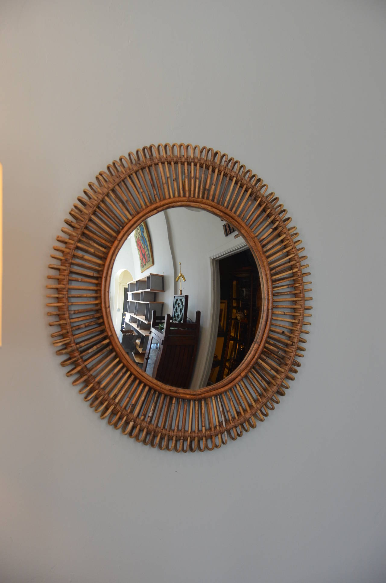 Pair Of Large Decorative Convex Rattan Mirrors At 1stdibs