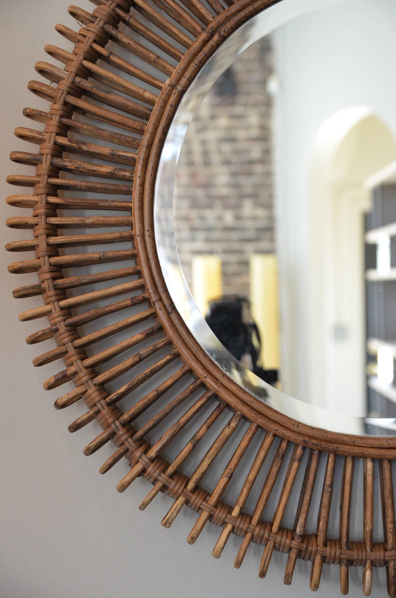 Pair Of Large Decorative Rattan Mirrors At 1stdibs