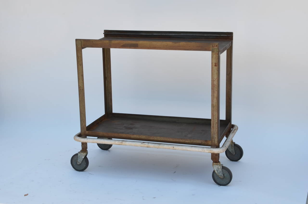 Sturdy Industrial Bar Cart On Wheels For Sale At 1stdibs