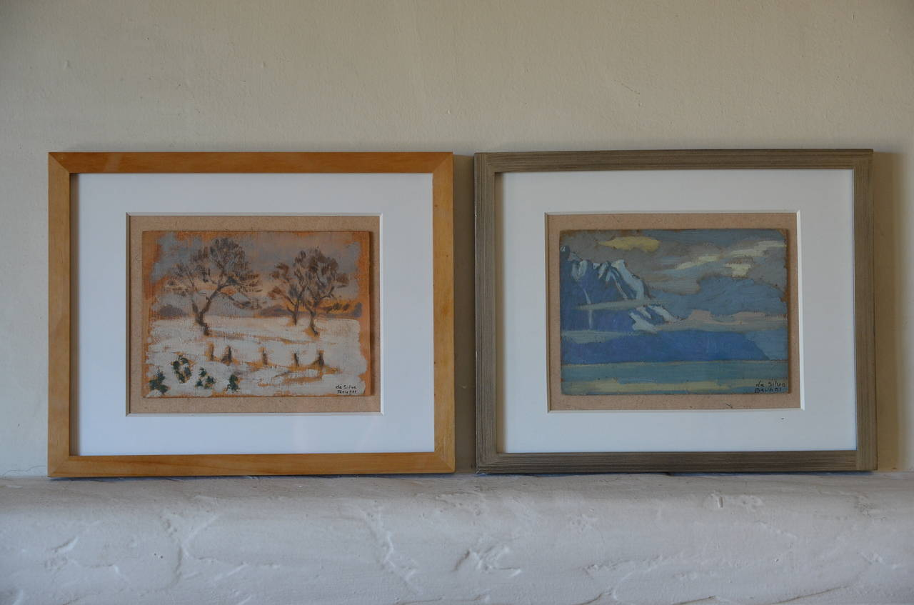 Rare Set of Two Framed Oil Paintings by Ivan da Silva Bruhns 3