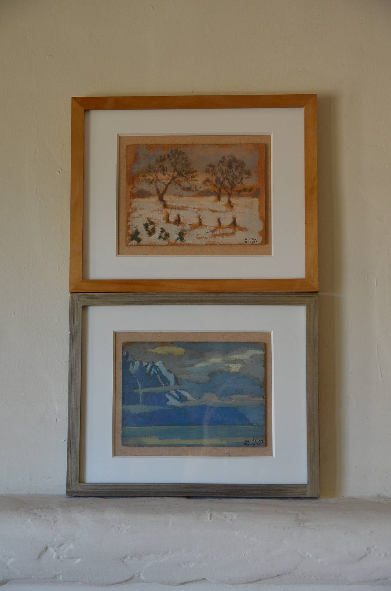 Rare set of two small framed oil paintings by Ivan da Silva Bruhns, (Paris, 1881-Antibes, 1980). Unique works. Signed. Each panel is 9 in. Wide x 6.5 in. tall.