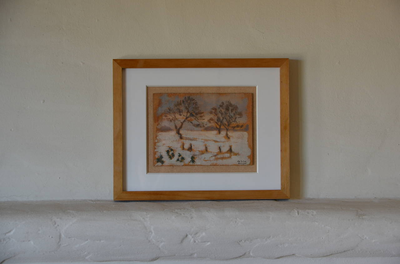 French Rare Set of Two Framed Oil Paintings by Ivan da Silva Bruhns For Sale