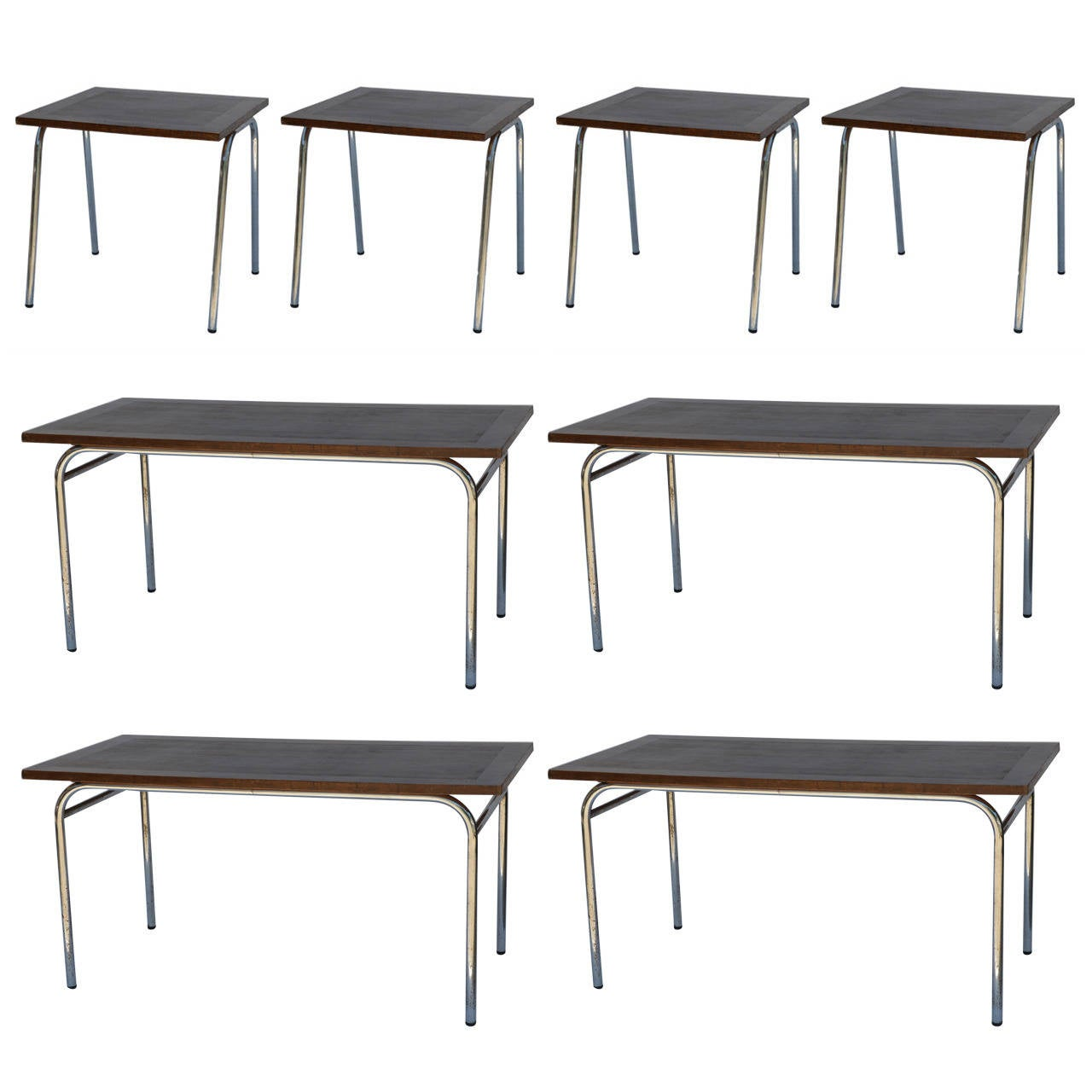 Square Rectangular Modern Dining Table Legs Industrial: Set Of Eight Large Rectangular And Square Matching French