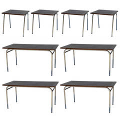 Set of Eight Large Rectangular and Square Matching French Industrial Tables