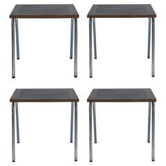 Set of Four French Modernist Square Chrome and Mahogany Tables