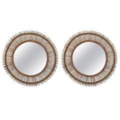 Pair of Large Decorative Convex Rattan Mirrors