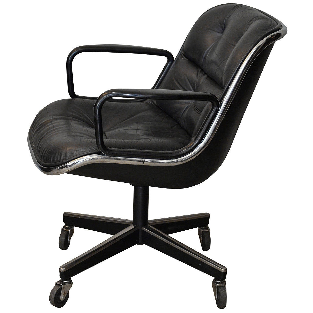 Midcentury Executive Desk Leather Chair by Charles Pollock for