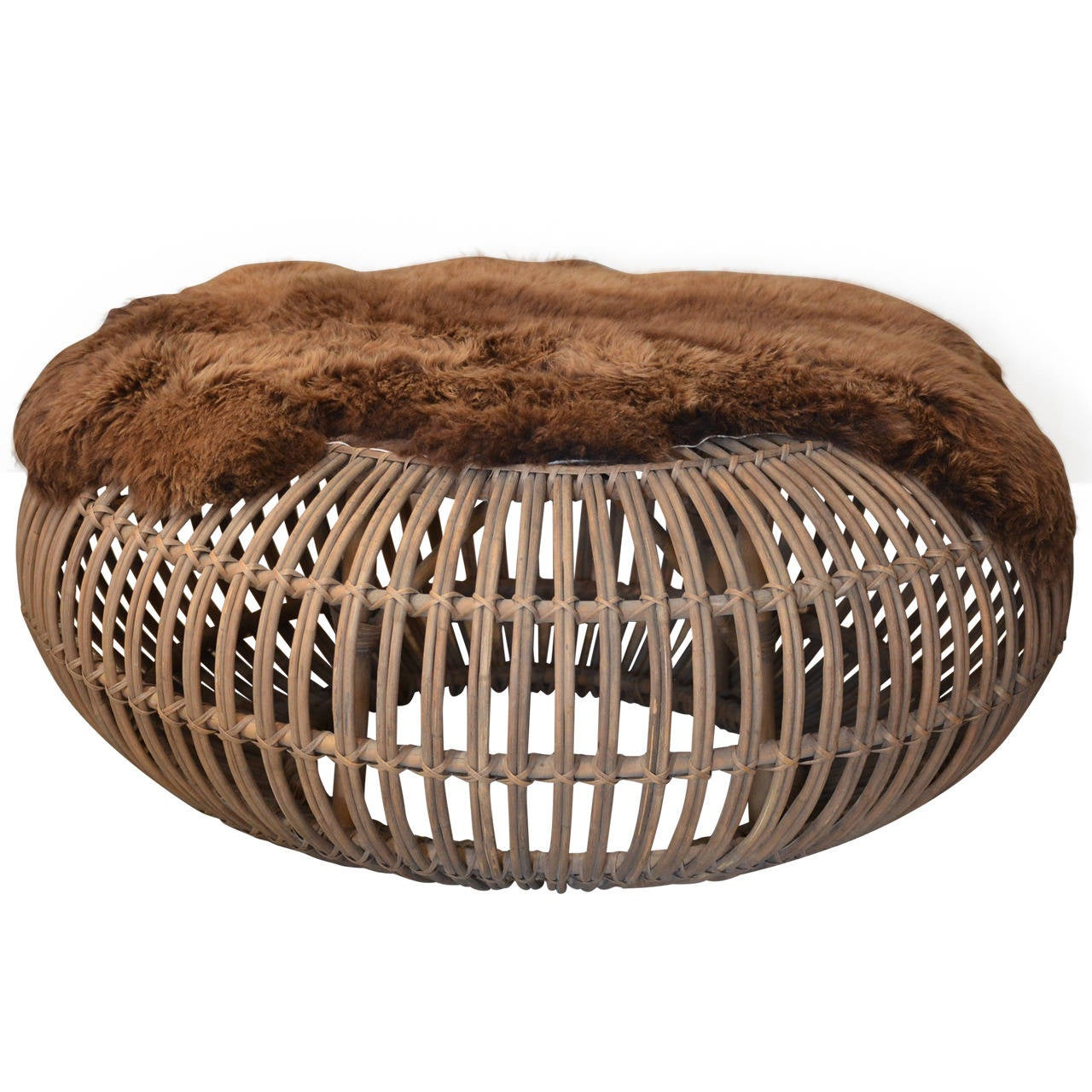 Large Round Rattan Ottoman With Thick Fur Cover By Franco