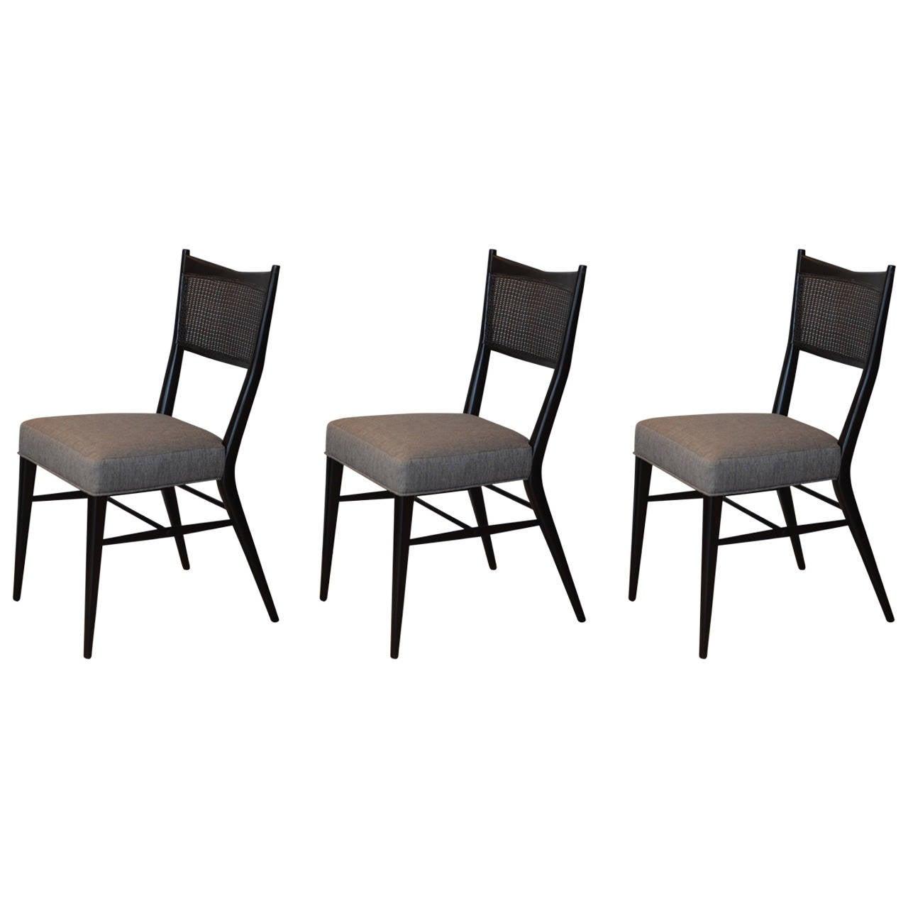 Set of Three Ebonized Caned Chairs by Paul McCobb