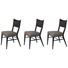 Set of Three Ebonized Caned Chairs by Paul McCobb