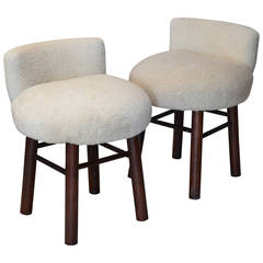 Pair of Oak Sheep Skin Covered Low Stools in the Style of Charlotte Perriand