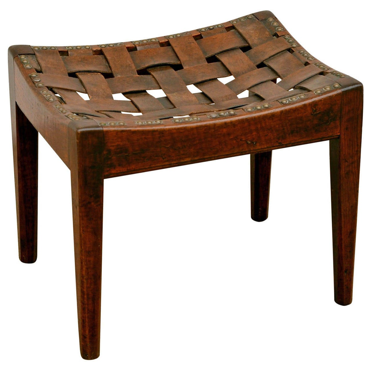 English Arts And Crafts Polished Oak Leather Stool By Arthur Simpson For