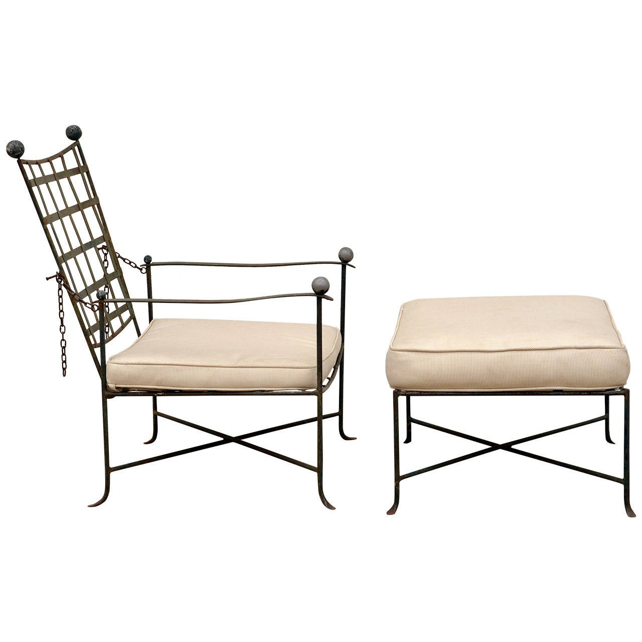 Elegant Patio Lounge Chair and Ottoman by Mario Papperzini for John Salterini