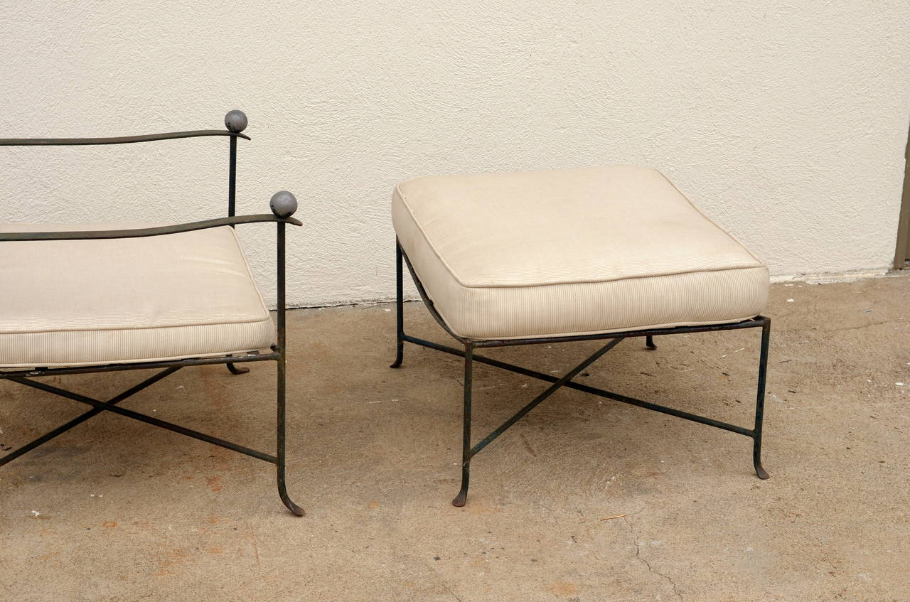 elegant patio lounge chair and ottoman by mario papperzini for john salterini at 1stdibs. Black Bedroom Furniture Sets. Home Design Ideas