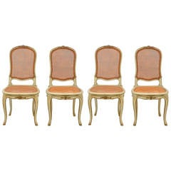 Set of Four Louis XV Style Caned Chairs
