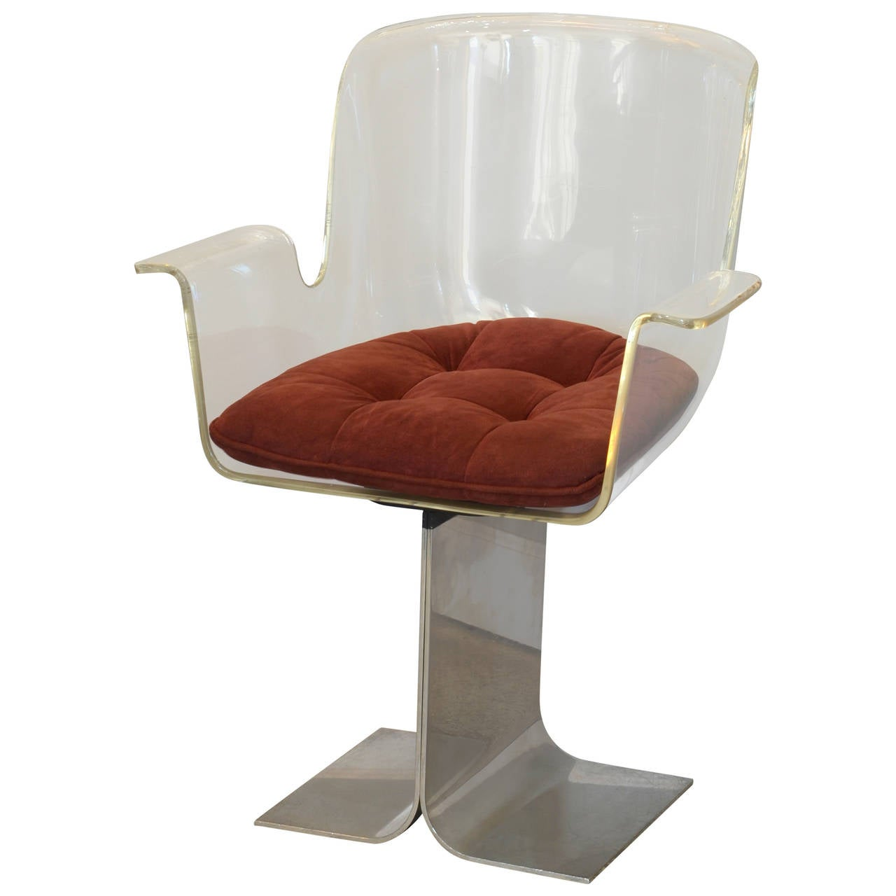 Swiveling Lucite and Polished Aluminum Armchair in the Style of Roger Tallon