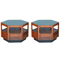 Pair of 70's Hexagonal Coffee / Side Tables with Smoked Glass Tops