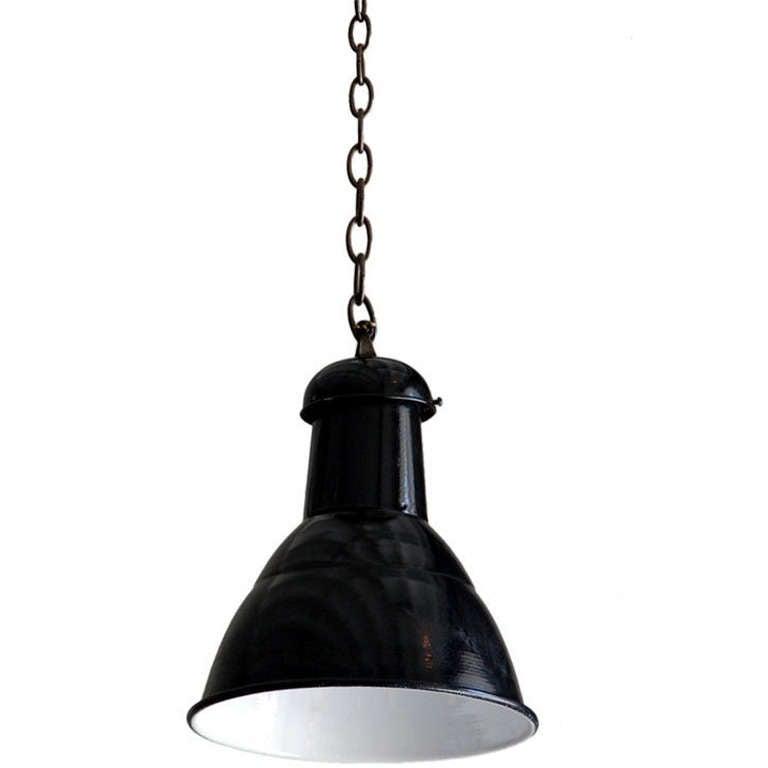 Medium-Sized French Industrial Enameled Hanging Light
