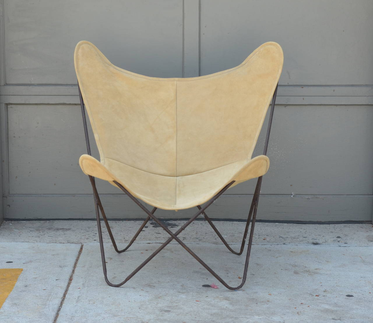 Pair Of Original Vintage Hardoy Butterfly Chairs In Suede
