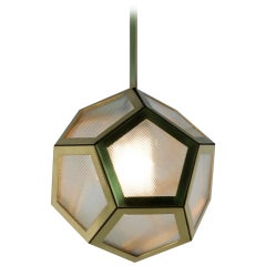 Brass Black Leather and Industrial Glass Hanging Pentagon Lantern