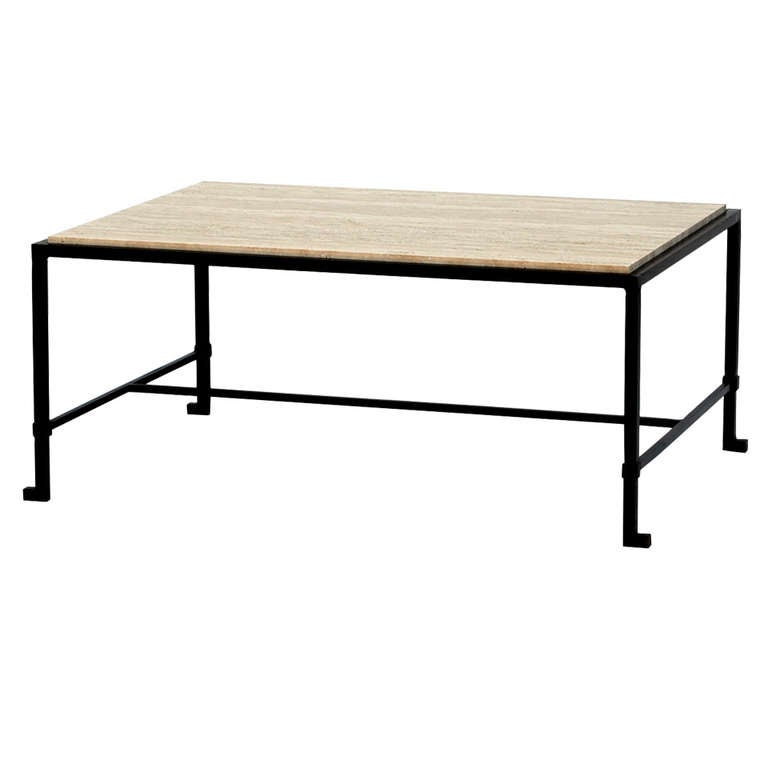 39 diagramme 39 travertine and wrought iron coffee table by for Wrought iron coffee table for sale