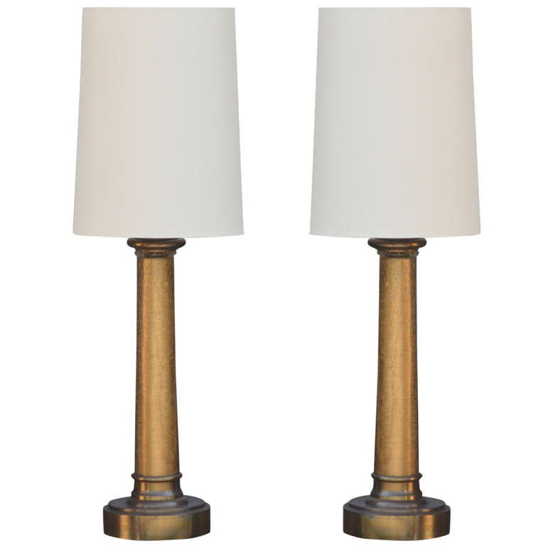 Pair of Chic Crackled Glass Column Lamps by Paul Hanson For Sale