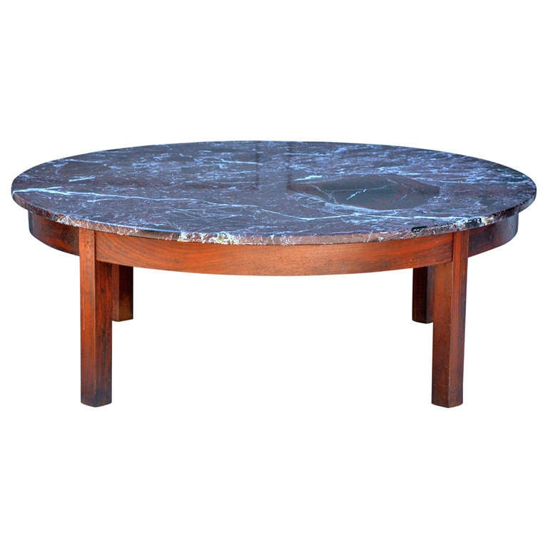 Large round coffee table with red veined marble top at 1stdibs Coffee tables with marble tops