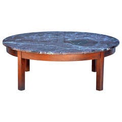 Large Round Coffee Table with Red Veined Marble Top