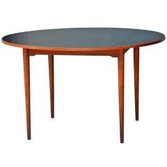 Chic Scandinavian Teak Table with Durable Black Laminate Top