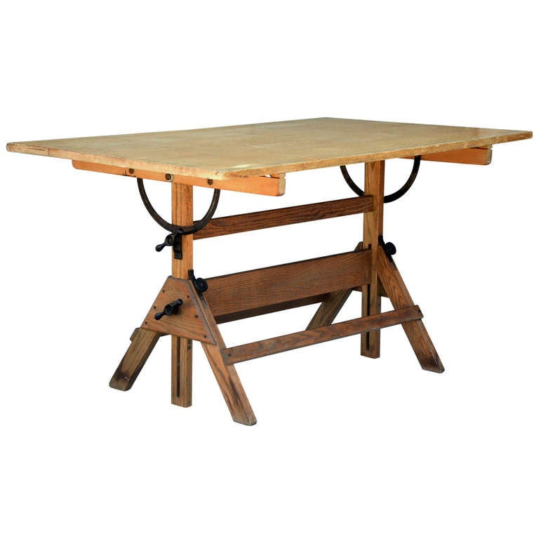 Vintage Articulated Oak And Maple Drafting Table By Hamilton 1