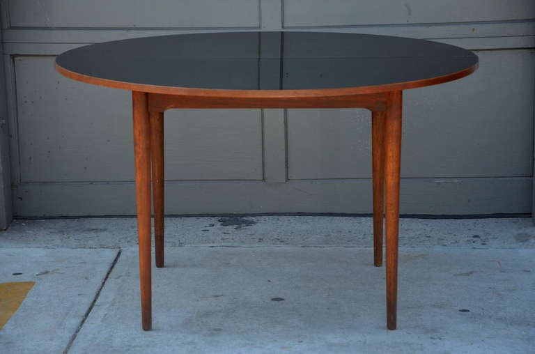 Chic Scandinavian Teak Table With Durable Black Laminate Top For Sale At 1stdibs