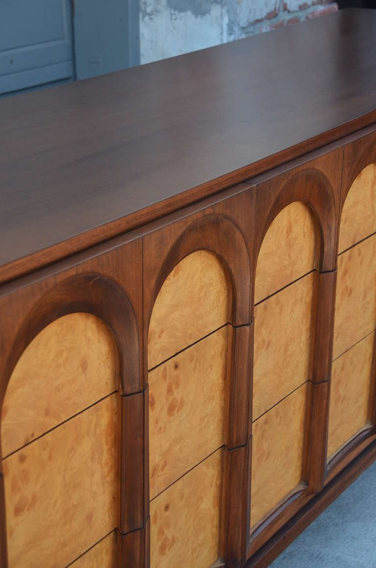 sculptural burlwood and walnut sideboard by thomasville at