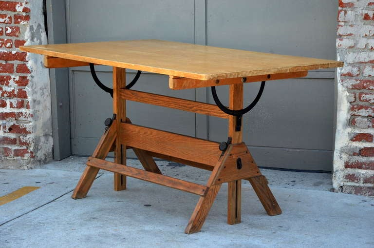 Vintage Articulated Oak And Maple Drafting Table By Hamilton At 1stdibs