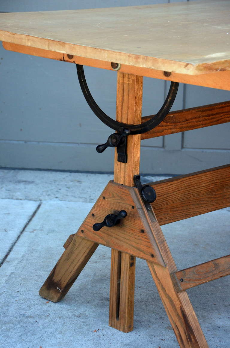 Oakwood Furniture Mfg ~ Vintage articulated oak and maple drafting table by
