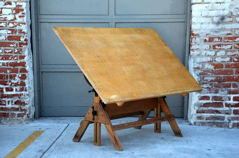 Vintage Articulated Oak And Maple Drafting Table By