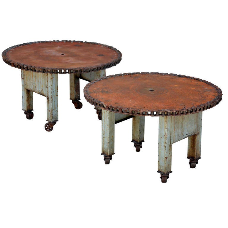Pair of unique weathered industrial side tables coffee table for Unique side tables