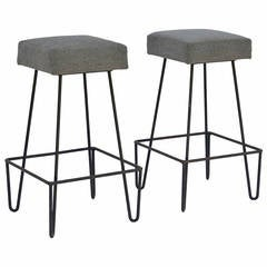 Pair of Unusual Square Modernist Wrought Iron Bar Stools