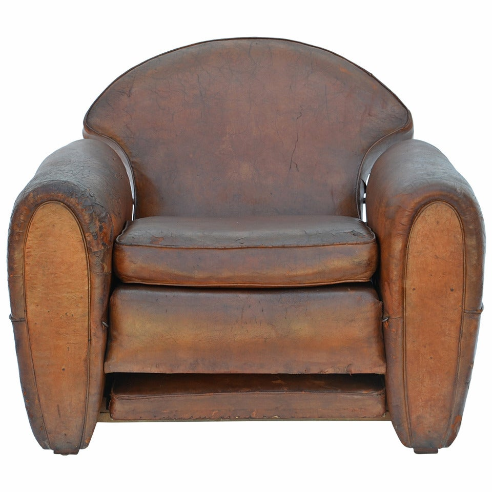 Exceptional Aged Leather French Art Deco Adjustable Club Chair