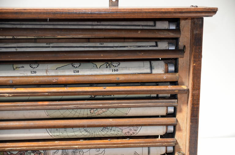Rare Antique Classroom Pull Down Map Cabinet In Oak Case at 1stdibs