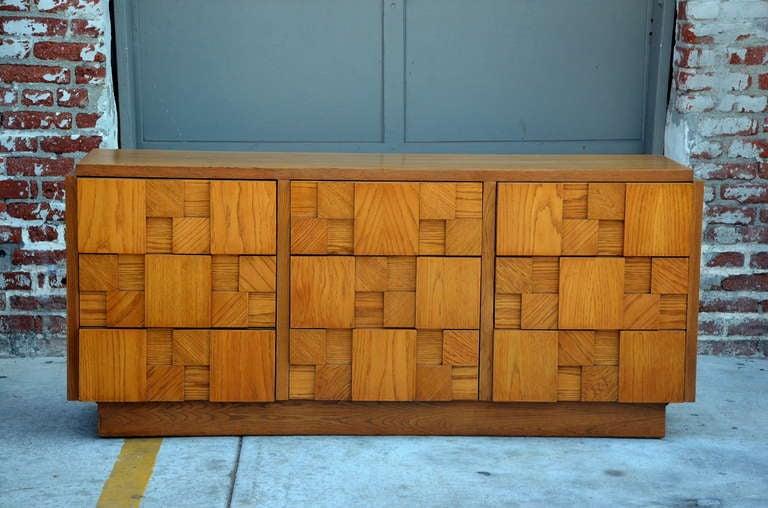 American Impressive Brutalist Mosaic Sideboard by Lane For Sale