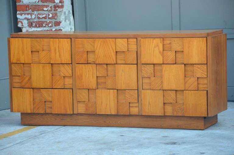 Impressive Brutalist Mosaic Sideboard by Lane Furniture. Signed.