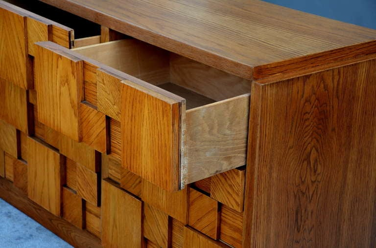 Impressive Brutalist Mosaic Sideboard by Lane In Excellent Condition For Sale In Los Angeles, CA