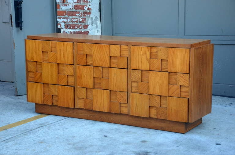 Late 20th Century Impressive Brutalist Mosaic Sideboard by Lane For Sale