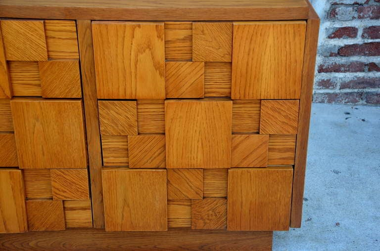 Oak Impressive Brutalist Mosaic Sideboard by Lane For Sale
