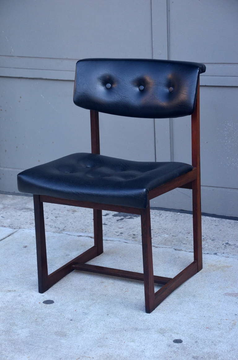 Set Of 6 Comfortable Brazilian Rosewood Chairs For Sale At